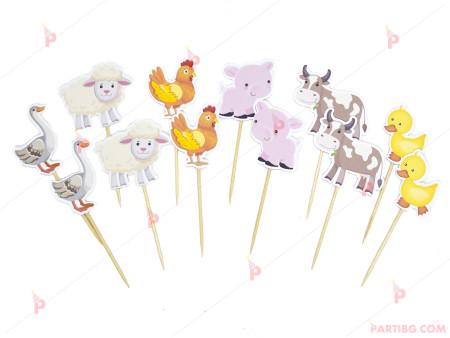 Комплект топери за мъфини/сладки 12бр. с домашни животни