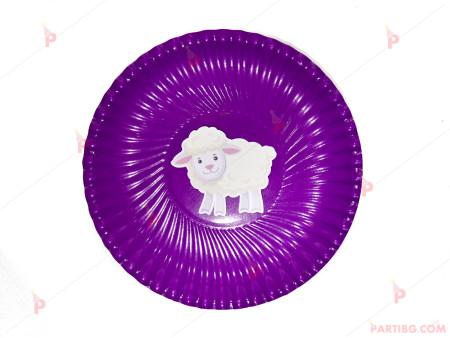 Чинийки едноцветни в лилаво с декор Овца
