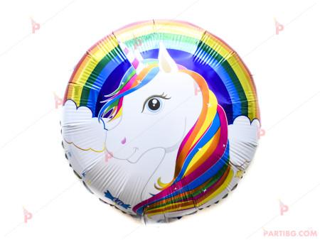 Фолиев балон кръгъл с Еднорог 2