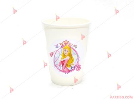 Чашки едноцветни в бяло с декор Аврора / Спящата красавица