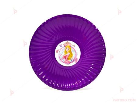 Чинийки едноцветни в лилаво с декор Аврора / Спящата красавица