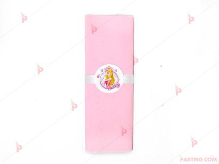 Салфетка едноцветна врозово и тематичен декор Аврова / Спящата красавица