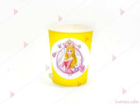 Чашки едноцветни в жълто с декор Аврора / Спящата красавица
