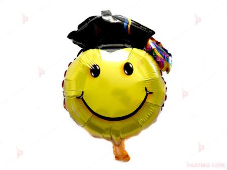 Фолиев балон усмивка с абсолвентска шапка