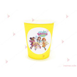Чашки едноцветни в жълто с декор Кафенето на Масленка/Butterbean's cafe | PARTIBG.COM