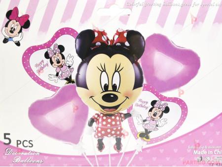 Фолиеви балони комплект от 5 бр. - Мини маус цял ръст в червено и розово