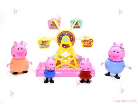 Играчки/Фигурки за торта-Пепа Пиг и семейство - 4 броя и Виенско колело