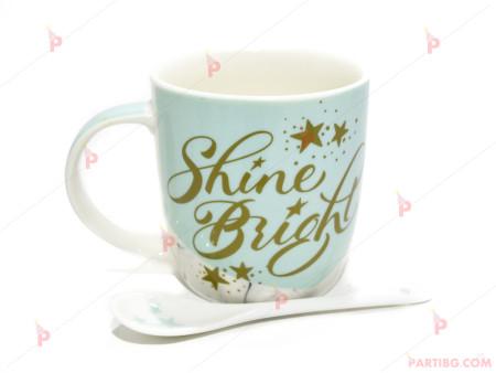 Чаша за кафе/чай с лъжичка Shine Bright