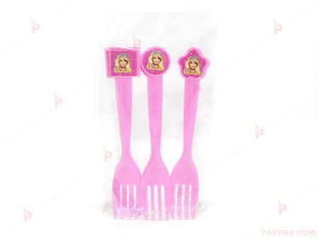 Вилички забавни, к-т 6бр в розово с декор Барби