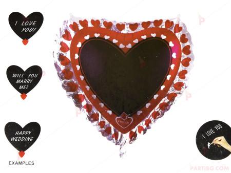 Фолиев балон сърце червено с черен фон за надписване и маркер